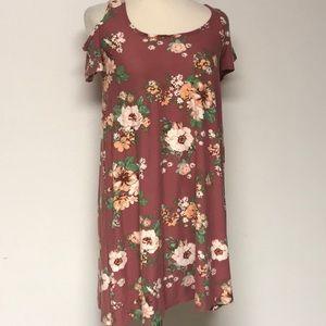 """Floral """"Planet Gold""""cold shoulder Shift Dress"""